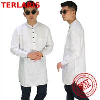 Baju Muslim Koko Pria, Kurta Gamis Putih Polos Lengan Panjang