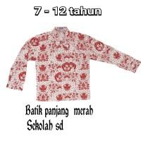 batik sd merah lengan panjang seragam batik sd lengan panjang