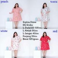 dress flowery peach big size murah/big mini dress jumbo peach