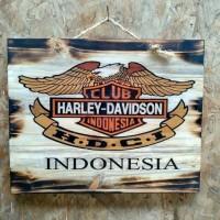 Lukisan Kayu HDCI Harley Davidson Indonesia Hiasan Dinding Garasi