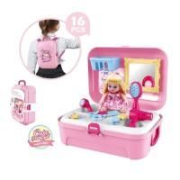 Mainan Anak House Backpack Tas Punggung Alat Makeup Pretty Girl Cantik
