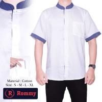 Kemeja / Baju Koko Muslim Pria Rommy - Putih Kombinasi Jeans