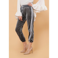 Hijab Ellysha NEW SHINNY PLEATED LISTED JOGGER PANTS GREY