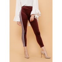Hijab Ellysha RAISYA TRIPLLE LIST SUEDE LEGGING PANTS BROWN