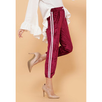 Hijab Ellysha NEW SHINNY PLEATED LISTED JOGGER PANTS MAROON