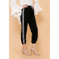 Hijab Ellysha NEW SHINNY PLEATED LISTED JOGGER PANTS BLACK