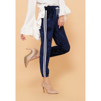 Hijab Ellysha NEW SHINNY PLEATED LISTED JOGGER PANTS NAVY