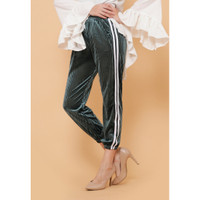 Hijab Ellysha NEW SHINNY PLEATED LISTED JOGGER PANTS OLIVE