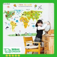 WALL STICKER PETA DUNIA ANAK MAP I LOVE THE WORLD ANIMAL ABC1049 STIKE