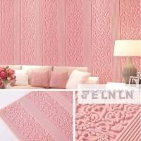 wallpaper foam 3D timbul motif batik garis warna pink