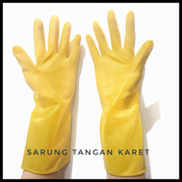 Sarung Tangan Karet Latex Dot Tebal Safety Rubber Glove 32 cm jogja - Kuning