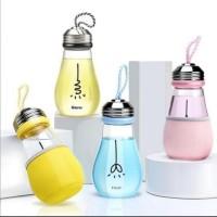 Botol Minum Kaca Polos Bohlam 400ML + Pouch Souvenir Nikah Promosi
