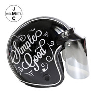 Helm Bogo Retro Kaca Datar Motif Simple is Good Hitam SNI