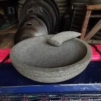 1set Cobek dan ulekan Bubut Batu Kali 20cm