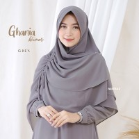 Khimar/Jilbab Syar i Muslimah Ghania Series - Grey Colour (Abu)