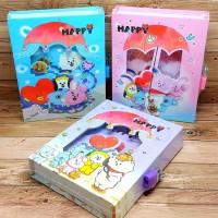 Buku Diary Anak BT21 BTS Kpop Korea Lengkap Dengan Gembok Kunci