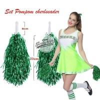 Pompom Cheerleader Rumbai foil hijau / hiasan rumbai pemandu sorak