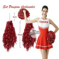 Pompom Cheerleader Rumbai foil merah / hiasan rumbai pemandu sorak