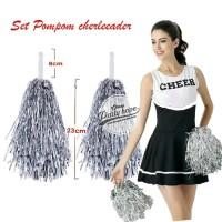 Pompom Cheerleader Rumbai foil silver / hiasan rumbai pemandu sorak