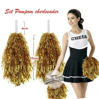 Pompom Cheerleader Rumbai foil gold / hiasan rumbai pemandu sorak