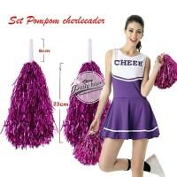 Pompom Cheerleader Rumbai foil pink / hiasan rumbai pemandu sorak