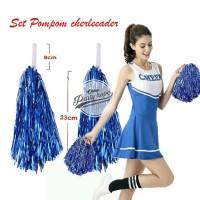 Pompom Cheerleader Rumbai foil biru / hiasan rumbai pemandu sorak