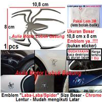 emblem laba laba spider 3D besar aksesoris mobil motor chrome timbul