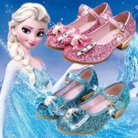 sepatu frozen biru/sepatu anak heels/sepatu anak glitter/sepatu elsa