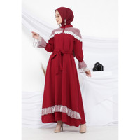 Hijab Ellysha KSENIA PANEL TRIM STAR TILE DRESS MAROON