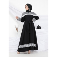 Hijab Ellysha KSENIA PANEL TRIM STAR TILE DRESS BLACK