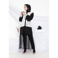 Hijab Ellysha 2IN1 FLAVIA TULLE RIBBON DRESS OUTER WHITE