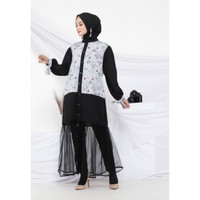 Hijab Ellysha 2IN1 FLAVIA TULLE RIBBON DRESS OUTER SOFT GREY