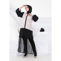 Hijab Ellysha 2IN1 FLAVIA TULLE RIBBON DRESS OUTER BABY PINK