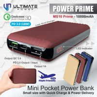 Ultimate Power MS10 PRIME QC+PD Mini Digital Fast Powerbank 10000mAh