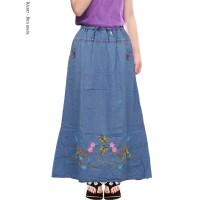 Rok Jeans Anak Tanggung 8-12TH Rok Panjang Anak Perempuan Motif Bordir