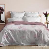 King Rabbit Bed Cover Ukuran Double 230x230 cm Motif Grace Pink