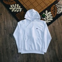 Champion Basic Small C Embroidered Logo Pullover Hoodie White
