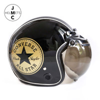 Helm Bogo Retro JMC Motif Converse Gold Hitam Semi Leather SNI