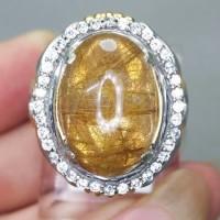 Cincin Batu Kecubung Rambut Cendana Serat Emas Asli