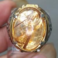 Cincin Batu Mulia Kecubung Cendana Kinyang Serat Emas