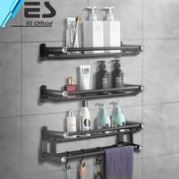 ES Rak kamar mandi stainless steel hitam rak handuk 3 tingkat