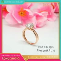 Cincin Emas Solitaire Large Rose Gold by Amero Ring Size12 13