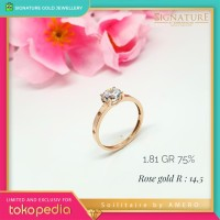 Cincin Emas Solitaire Love Ring Rose Gold by Amero Size 14