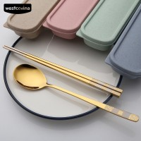 Readystock(WO) Portable Stainless Tableware Travel Picnic Spoon Set