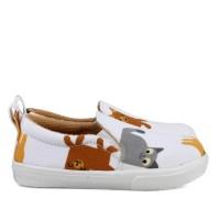 Sepatu slip on Anak unisex bahan sintetis perekat putih