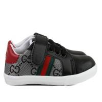 Sepatu sneakers Anak unisex bahan sintetis perekat hitam velcro