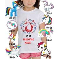Kaos Baju tshirt anak Custom Unicorn / kaos anak kuda pony
