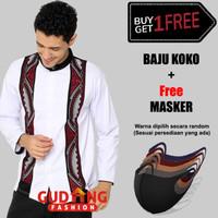 Kemeja Koko Lengan Panjang Bordir Hitam Putih Bordir Free Masker BKML