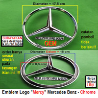 emblem oem logo mobil mercy mercedes benz besar dia 17.5 cm chrome 1bh