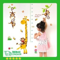 WALL STICKER PENGUKUR TINGGI BADAN JERAPAH MONKEY ANAK GROW UP SK9292